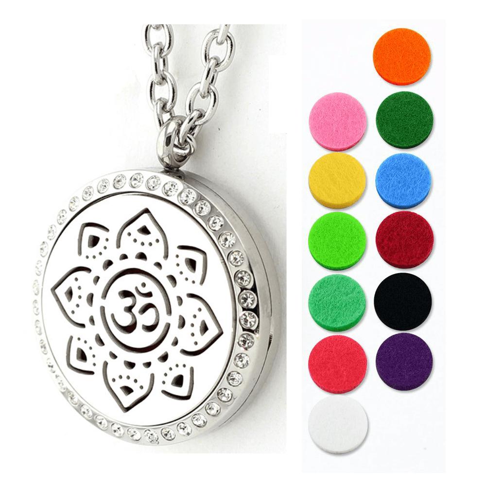 Aromatherapie - OM Symbol Anhänger Edelstahl 30mm - ätherisches Öl Halskette