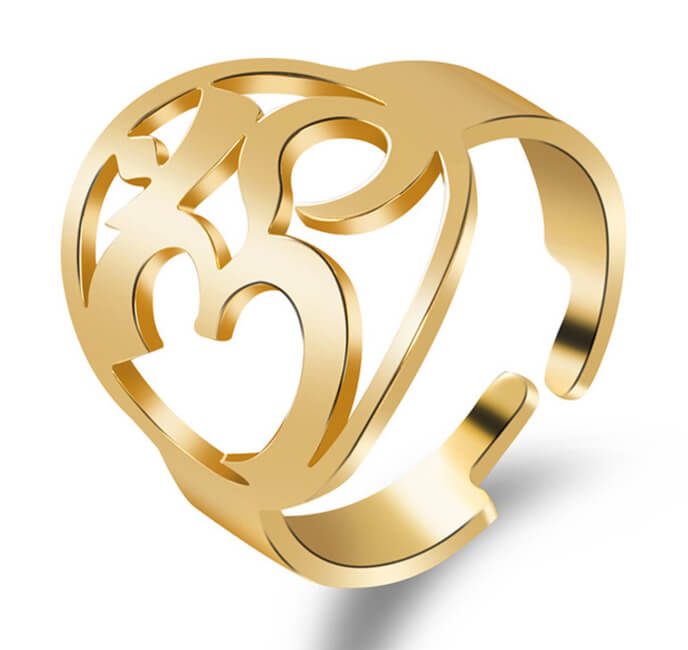 Ring Edelstahl mit OM Symbol - Größenverstellbar - goldfarbig